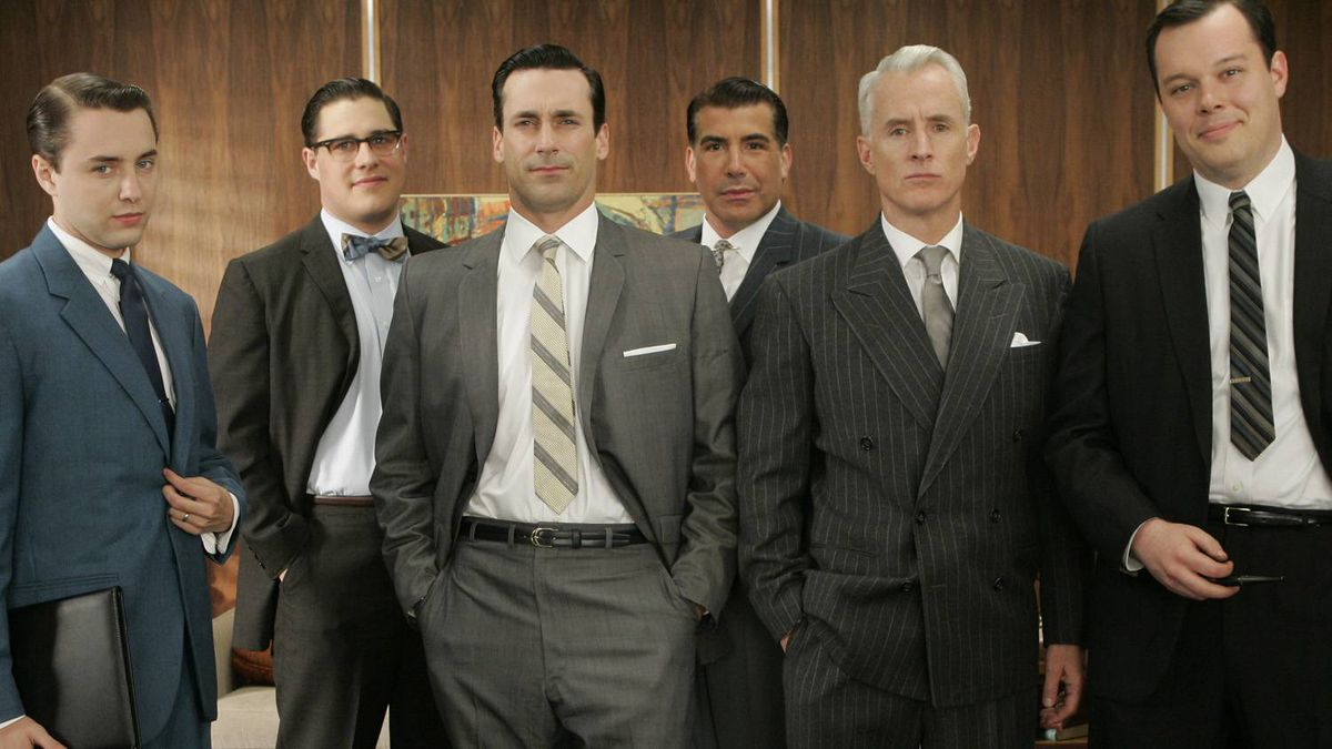 The advertising men of the Sterling Cooper Advertising Agency, in the TV drama series Mad Men