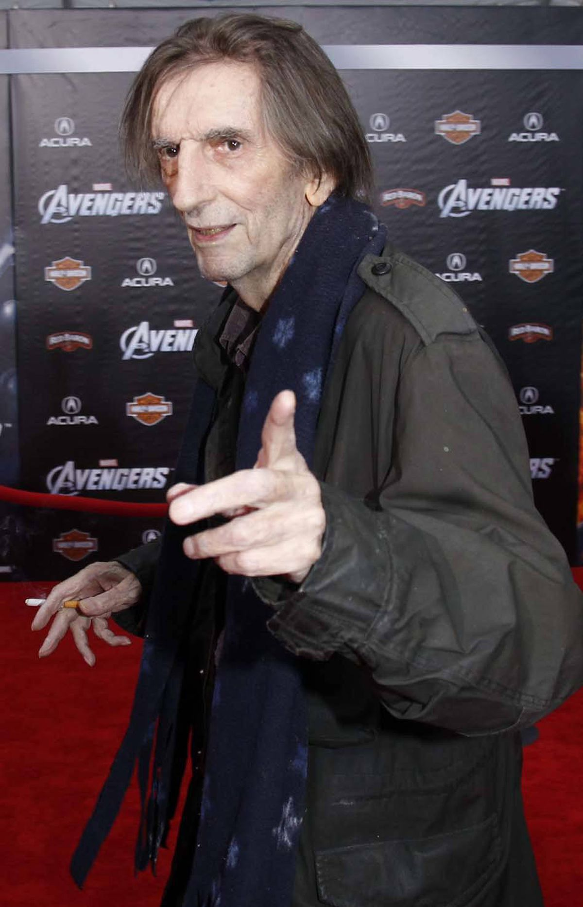 """Actor Harry Dean Stanton wanted you to smell his finger at the premiere of """"Marvel's The Avengers"""" in Hollywood last week."""