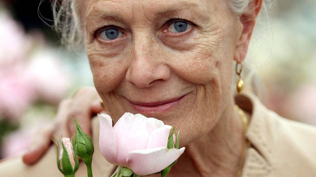 Actress Vanessa Redgrave holds a rose at the David Austin Stand named in the memory of her daughter (The Natasha Richardson Rose) during Chelsea Flower Show Press and VIP Day on May 23, 2011 in London, England.
