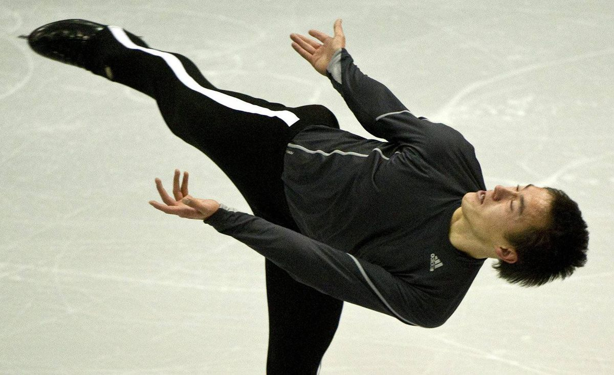 Patrick Chan of Canada goes through his routine during a practice session at Skate Canada International figure skating competition Thursday, October 27, 2011 in Mississauga.