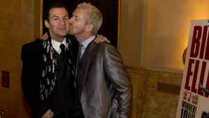Colin McAllister and Justin Ryan kiss at the opening of Billy Elliot The Musical at the Canon Theatre in Toronto on March 1, 2011.