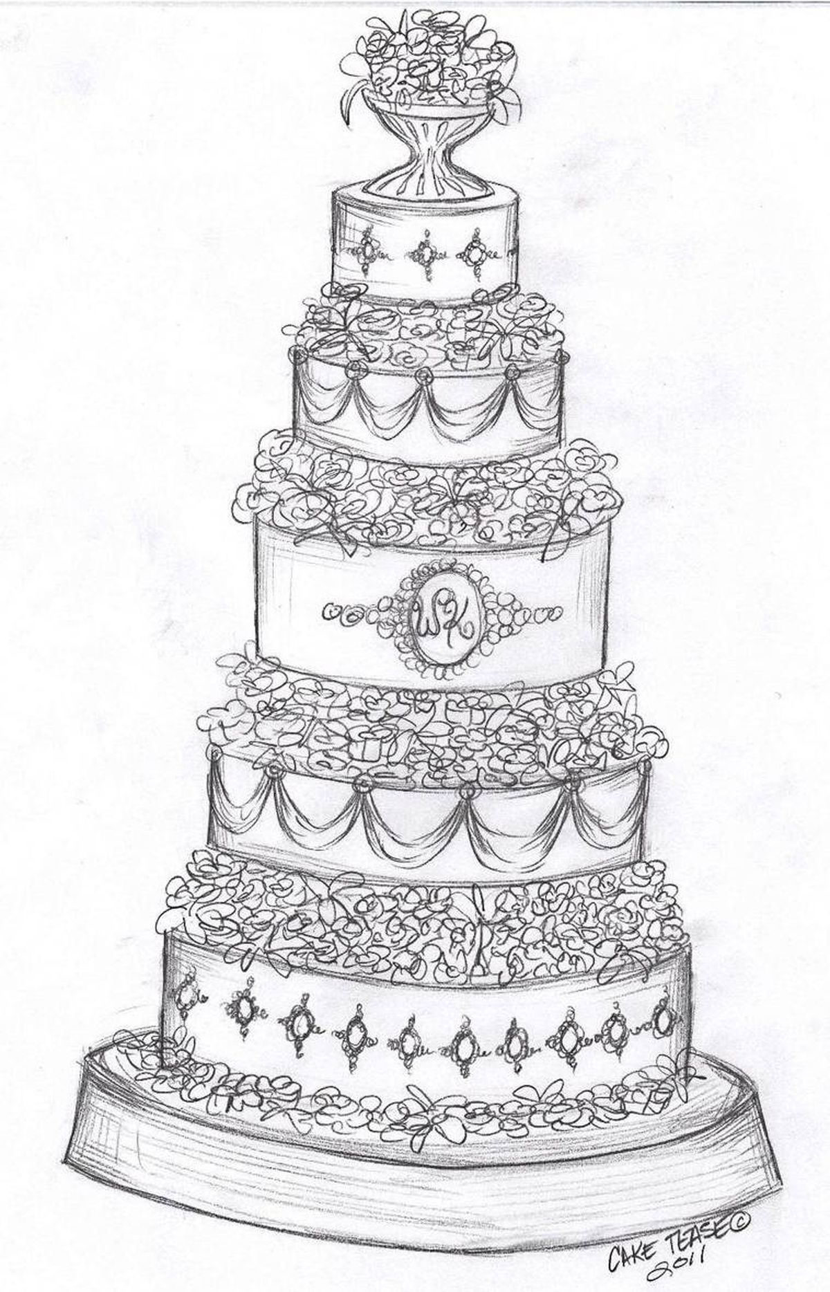 Theresa Lanziner of Cake Tease, Vancouver This five-tiered wedding cake design was inspired by both and Prince William's family history and the simplicity of Kate Middleton's style and grace. All five tiers are separated with various white, gum paste flowers, including roses, magnolias, lily of the valley and stephanotis. The top, middle and bottom tiers stand slightly taller than the others and are designed with Kate's engagement ring in mind. Clear sugar gems, replicating diamonds, and silver piping work surround sapphire-blue sugar gems around these tiers. The centre tier also includes the first initials of the couple. Sapphire blue draping finishes the remaining tiers and each drape is topped with a small sugar gem and silver piping. The cake itself rests on a traditional silver cake stand to compliment the small silver piping details on the cake. A small silver chalice tops the cake filled with cascading sugar flowers.