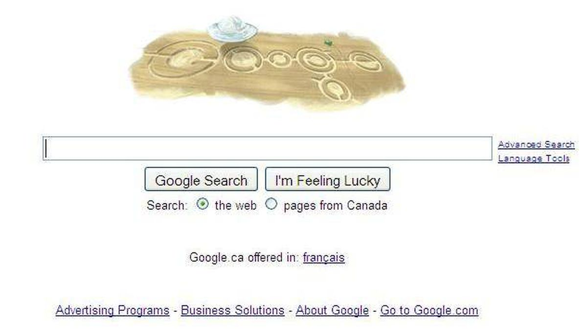 """Google's homepage shows the company's name in the form of crop circles, minus the """"L."""""""