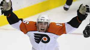 File - Philadelphia Flyers' Joffrey Lupul celebrates his game-winning goal against the Washington Capitals during the overtime period of Game 7 of an NHL playoff hockey series, Tuesday, April 22, 2008, in Washington. On Wednesday Lupul was traded from Anaheim to Toronto in exchange for defenceman Francois Beauchemin . (AP Photo/Nick Wass)