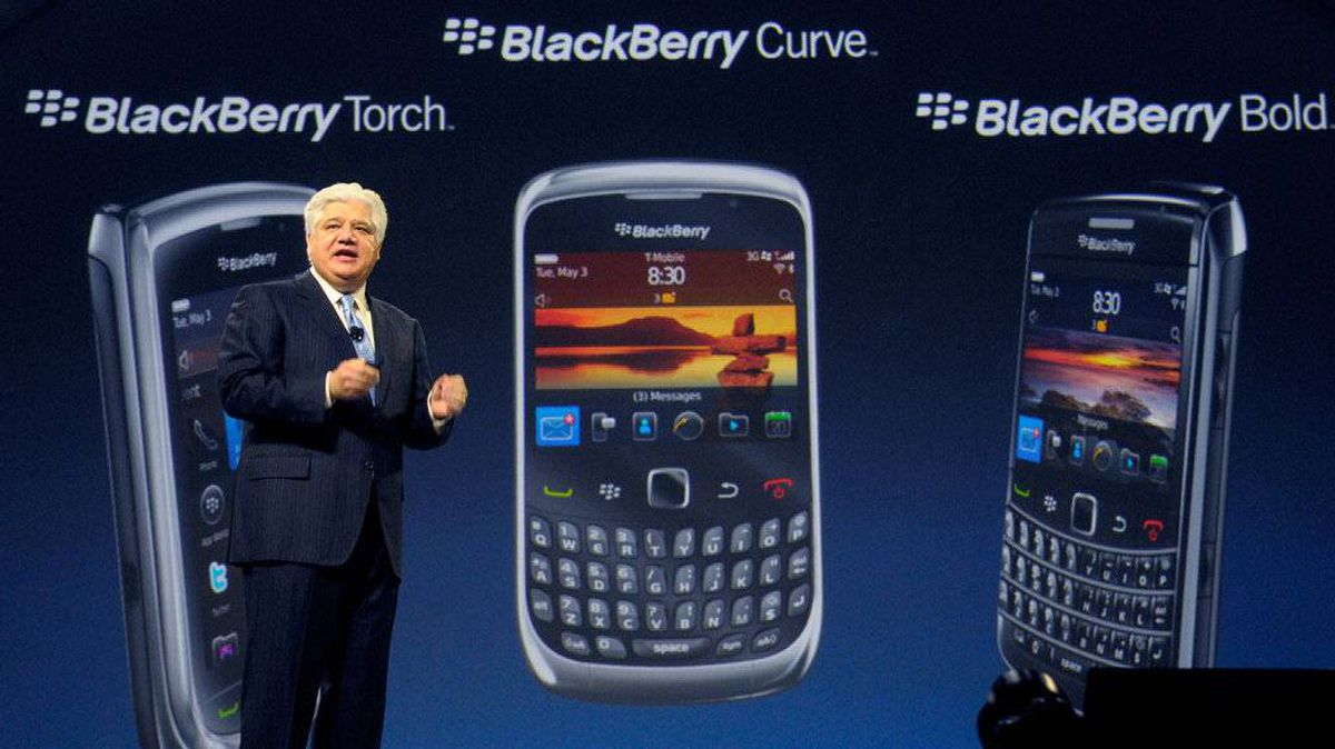 Michael Lazaridis, president, co-chief executive officer and co-founder of Research In Motion Ltd. (RIM), addresses the audience at the BlackBerry World conference in Orlando, Florida, U.S., on Tuesday, May 3, 2011.