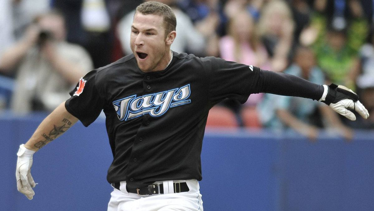 Brett Lawrie #13 of the Toronto Blue Jays celebrates his bottom of the 11th inning walk off home run during MLB game action against the Boston Red Sox September 5, 2011 at Rogers Centre in Toronto, Ontario, Canada. (Photo by Brad White/Getty Images)