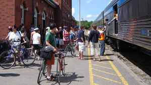The Bike Train differs from Via's usual Toronto-Niagara Falls run in that it includes a luggage car fitted with bike racks.