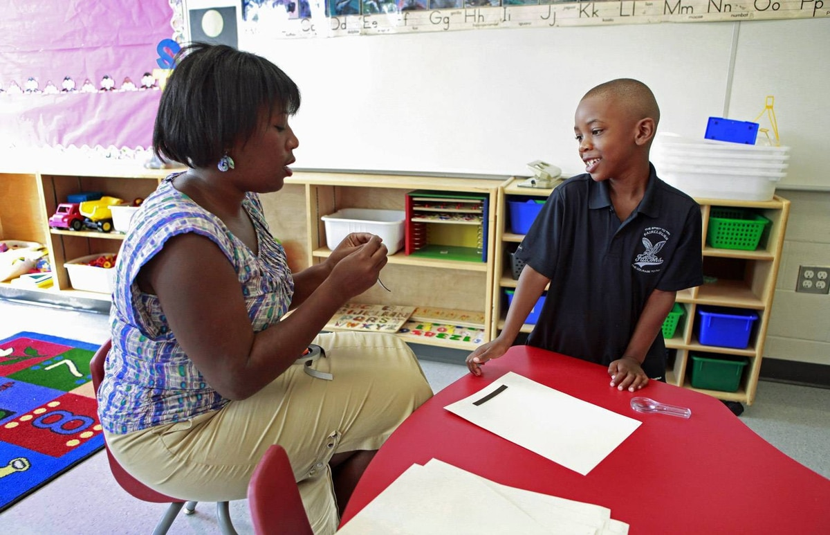 Mekhi Rutherford visits Ellen Fairclough Public School to meet his teacher, Darcie Sutherland, and see the classroom where he will be attending full day senior kindergarten this year.