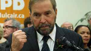 Quebec MP Thomas Mulcair announces his candidacy for the NDP leadership in Montreal on Oct. 13, 2011.
