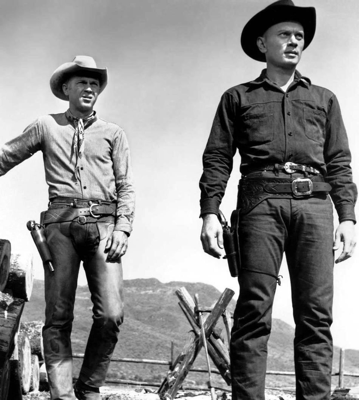 MOVIE The Magnificent Seven TCM, 10:15 p.m. ET; 7:15 p.m. PT Back in 1960, very few moviegoers were aware this rousing western was actually a remake of Japanese director Akira Kurosawa's classic 1953 film The Seven Samurai. This version starred Yul Brynner as Chris , a professional gunslinger hired to protect a defenceless Mexican village from its annual ransacking by the ruthless bandito named Calvera (Eli Wallach). To ensure the townsfolk's safety, he enlists the assistance of six fellow mercenaries, played by Steve McQueen, Robert Vaughn, Charles Bronson, James Coburn, Horst Buchholz and Brad Dexter. The rousing refrain by composer Elmer Bernstein was later immortalized as the soundtrack for Marlboro cigarettes.