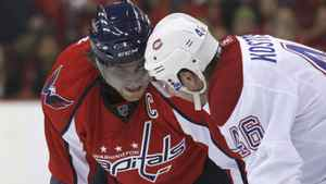 Washington Capitals' Alex Ovechkin (L) looks at Montreal Canadiens' Andrei Kostitsyn before a faceoff during Game 2 of their NHL Eastern Conference quarter-final series hockey game in Washington April 17, 2010. REUTERS/Molly Riley
