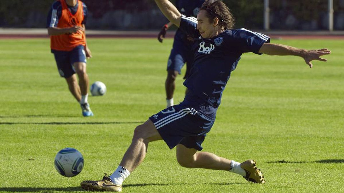 Steve Nash of the NBA's Phoenix Suns practices with the Vancouver Whitecaps FC of the MLS, in Burnaby on Tuesday.