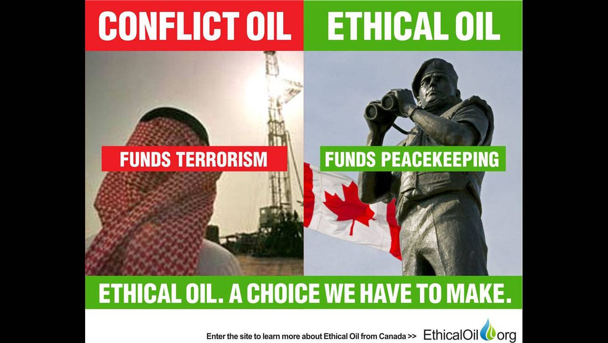 "The EthicalOil.org site argues that consumers must choose between oil produced by countries that fund terrorism or oil produced by countries that bankroll peacekeeping operations. Shown on the left is a derrick in Saudi Arabia, and on the right is a ""Reconciliation,"" a peacekeeping monument in Ottawa."