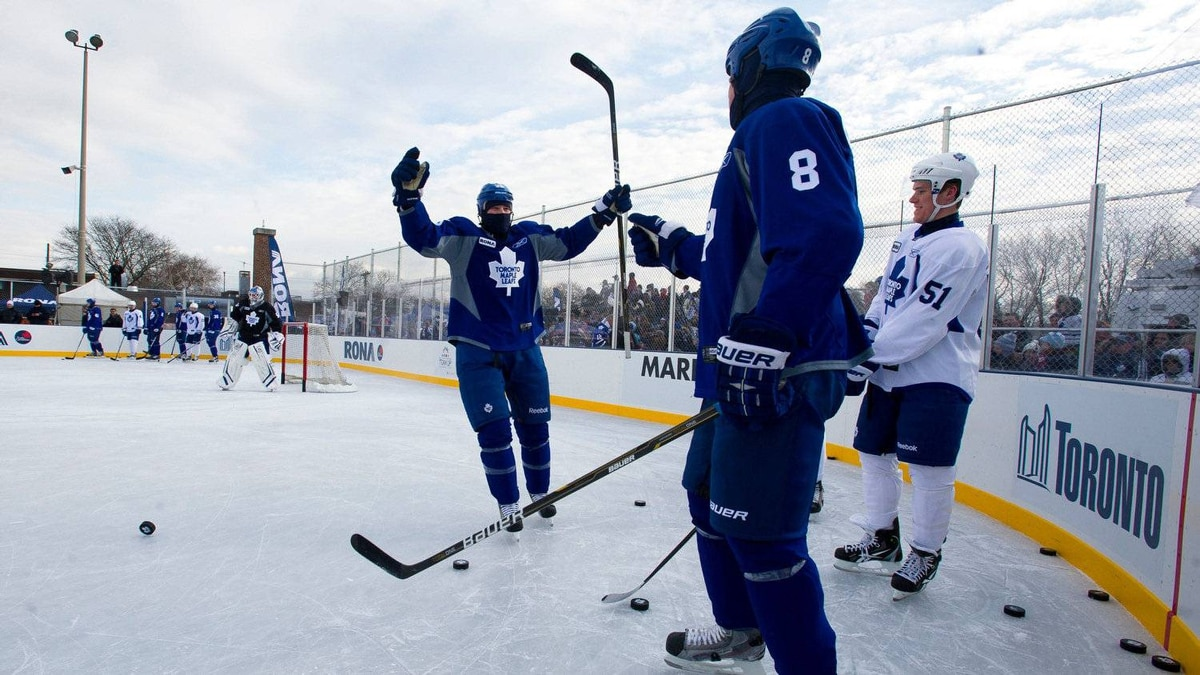 Leafs Jay Rosehill celebrates a goal during drills.