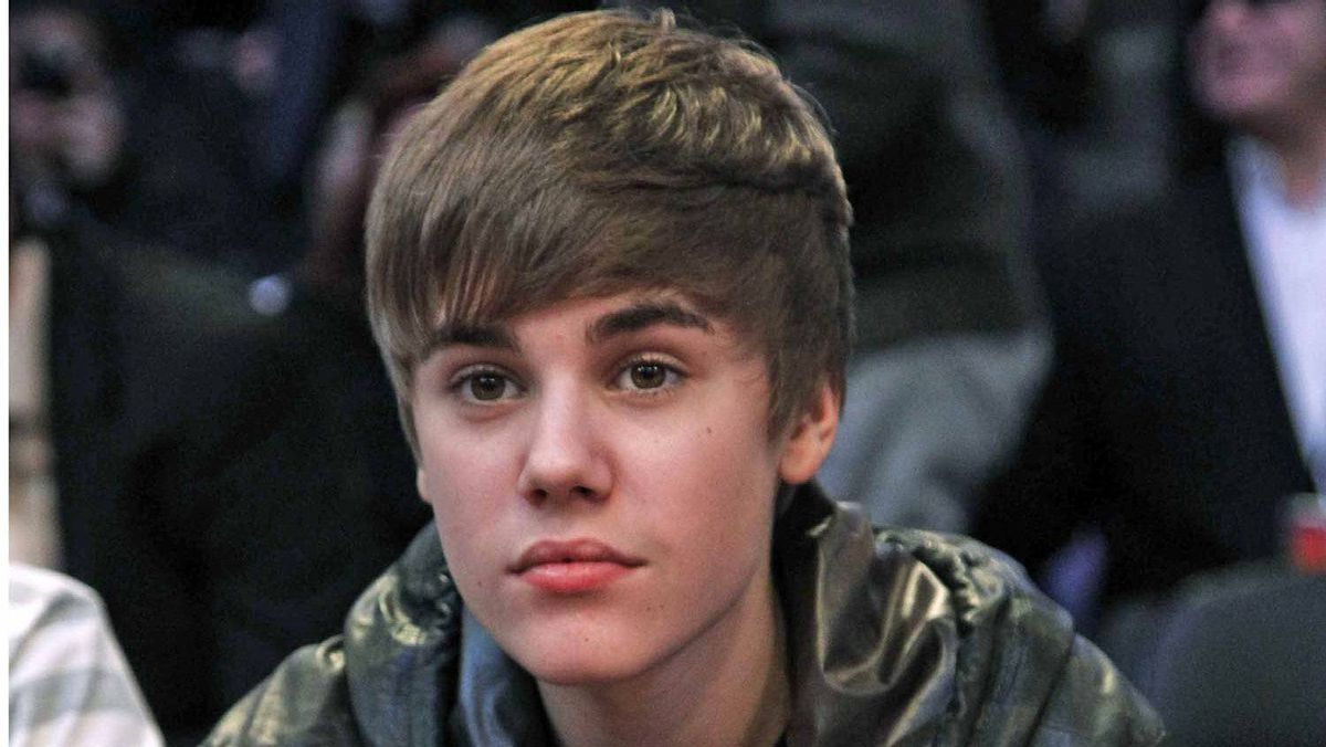 Justin Bieber pre-haircut: This is the coiffed head from which the shorn locks were harvested.