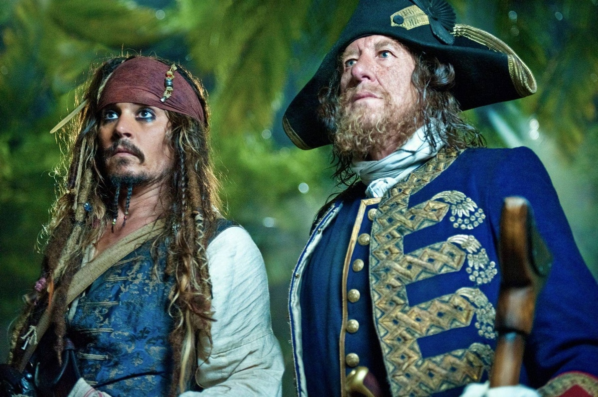 Johnny Depp and Geoffrey Rush in Pirates of the Caribbean: On Stranger Tides.