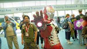 """A costumed Iron Man in a scene from the Morgan Spurlock documentary """"Comic-Con Episode IV: A Fan's Hope"""""""