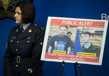 Security camera images recorded in Saskatchewan of Kam McLeod, 19, and Bryer Schmegelsky, 18, are displayed as RCMP Sgt. Janelle Shoihet listens during a news conference in Surrey, B.C., on July 23, 2019. The RCMP will release its investigative findings on Friday into the killing of three people in northern British Columbia that sparked a manhunt for two teenage suspects across Western Canada. Bryer Schmegelsky, who was 18, and Kam McLeod, who was 19, were found dead of self-inflicted gunshot wounds last month in the wilderness of northern Manitoba. Schmegelsky and McLeod were charged with the murder of Leonard Dyck, a University of British Columbia botany lecturer, and were also suspects in the deaths of American Chynna Deese and her Australian boyfriend Lucas Fowler. THE CANADIAN PRESS/Darryl Dyck