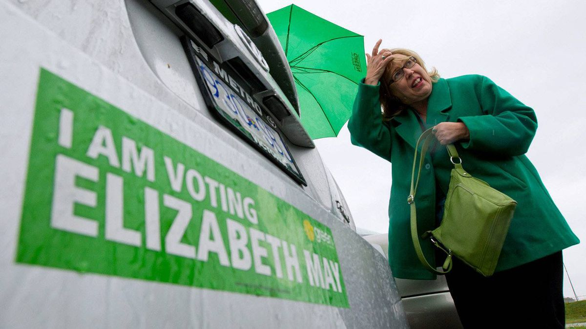 Green Party leader Elizabeth May leaves after casting her ballot in the federal election at a polling station in Sidney, B.C., on Monday May 2, 2011.
