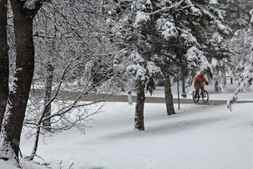 Cold weather does not deter dedicated cyclists! Shot at Kildonan Park in Winnipeg, MB.