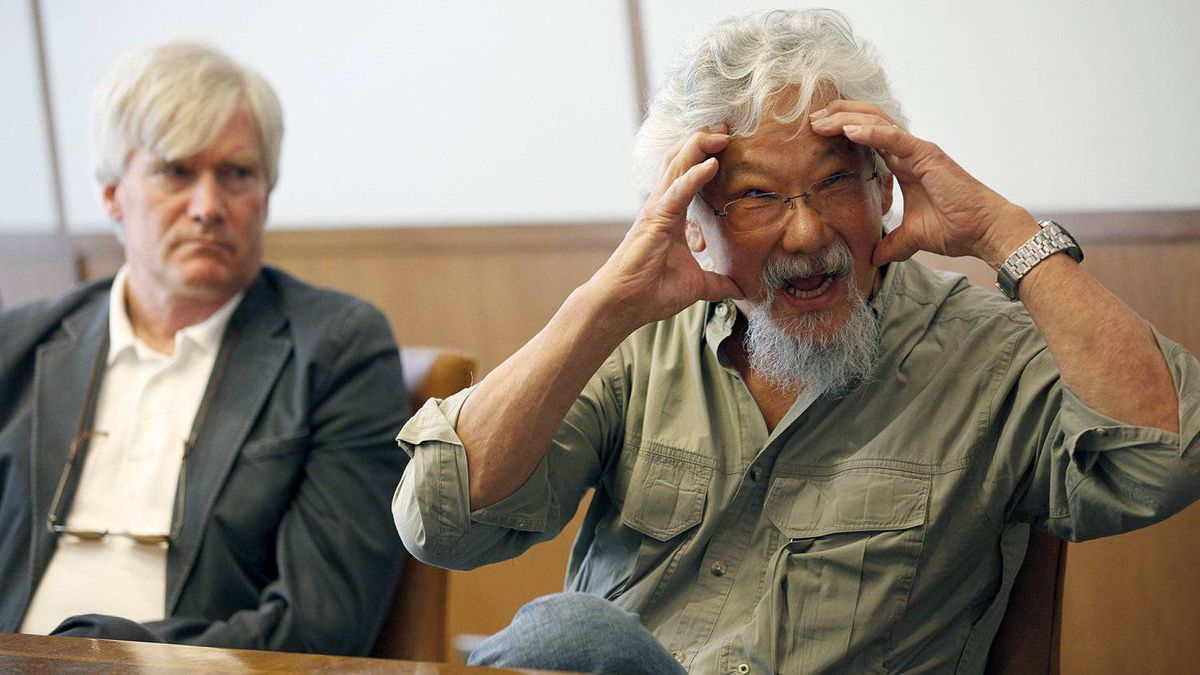 David Suzuki speaks to The Globe and Mail's editorial board as Peter Robinson, CEO of the David Suzuki Foundation, looks on in Toronto on April 12, 2012.