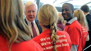 Interim Leader Bob Rae shakes hands with Liberal supporters at an Ottawa news conference on May 2, 2012.