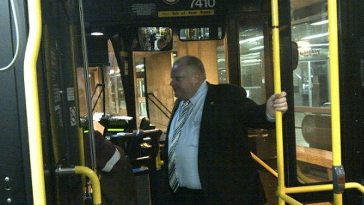 Toronto Mayor Rob Ford is pictured on a TTC bus.