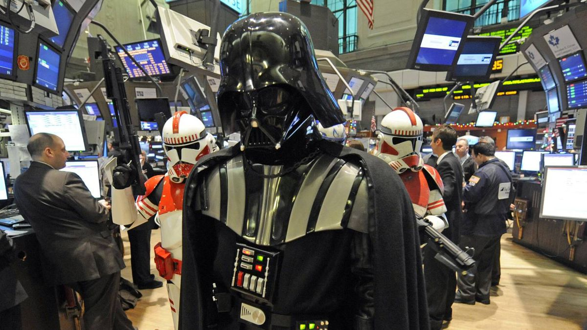 Darth Vader of Star Wars is escorted by storm troopers while touring the floor of the New York Stock Exchange, Tuesday, Dec. 22, 2009 in New York. To celebrate the lasting appeal of the Star Wars saga, Lucasfilm Ltd. executives and the Star Wars characters visited the exchange and rang the opening bell.