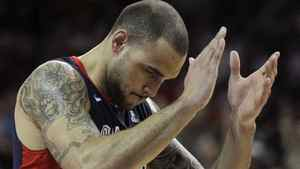 Gonzaga's Robert Sacre reacts in the second half against Saint Mary's during the NCAA West Coast Conference tournament championship basketball game, Monday, March 5, 2012, in Las Vegas. Saint Mary's won in overtime 78-74. (AP Photo/Julie Jacobson)