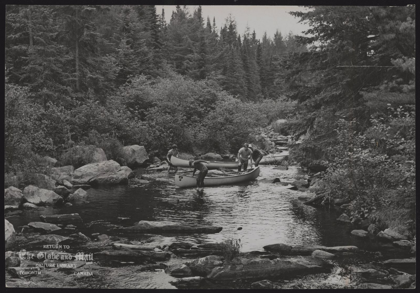 ALGONQUIN PARK Canoeists avoid portage by wading through creek's rocky section.