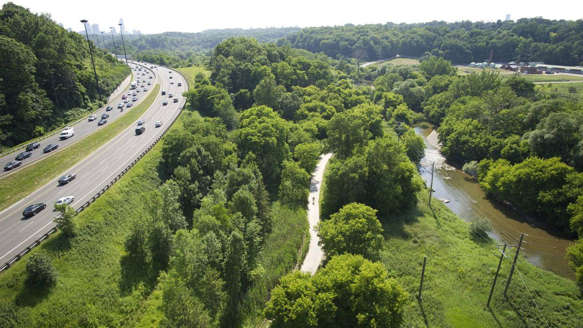 The Don River is seen from the Leaside Bridge in Toronto, Ontario July 8, 2011.