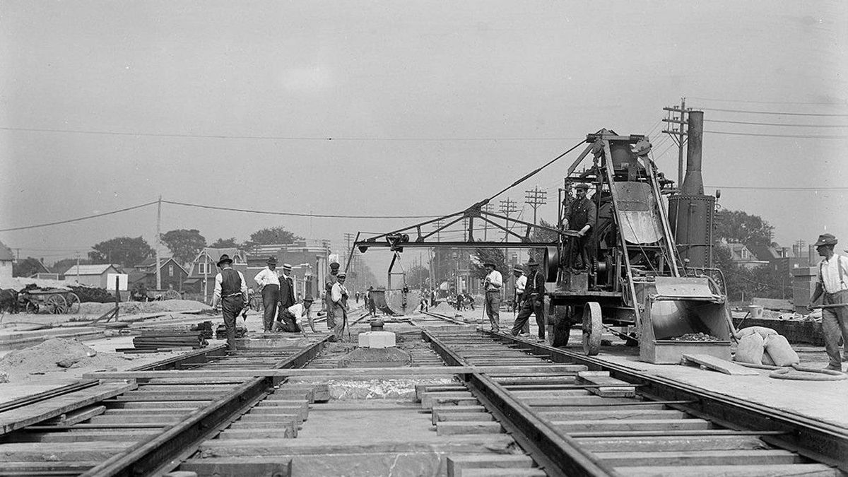 Track construction was underway for the Prince Edward (Bloor) Viaduct July 23, 1918.