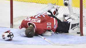 Team Canada goaltender Scott Wedgewood lies in front of his net following a goal by Team Russia on Tuesday January 3, 2012.