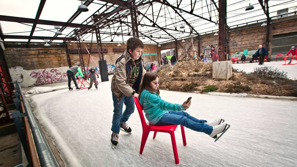 There is a cooling system underneath the Brick Works rink that keeps the ice useable when the temperature creeps above freezing - which it has been for much of the season. In a bit of environmental ingenuity, the warmth pulled off the rink is redirected to help heat two buildings on the Brick Works site.
