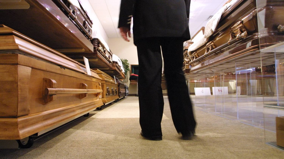 Caskets in a funeral home