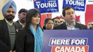 Immigration Minister Jason Kenney campaigns with Vancouver South candidate Wai Young on April 6, 2011.