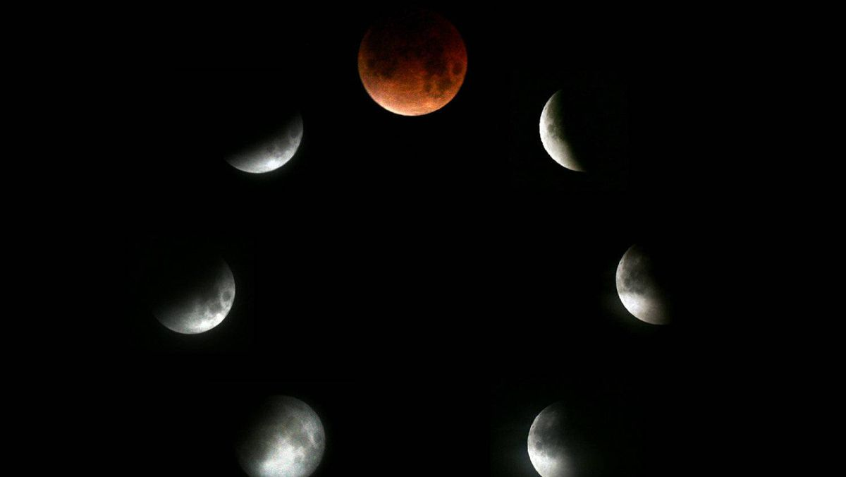 This file picture taken on February 21, 2008 is combo picture of seven images showing various stages of the lunar eclipse as seen in Sofia. Weather permitting, skygazers in northern America and Europe are in for a treat in the early morning hours of December 21, 2010, when the first total lunar eclipse in almost three years is poised to turn the Moon pink, coppery or even a blood red.