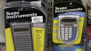 Texas Instruments products are displayed at a computer store in Santa Clara, Calif.