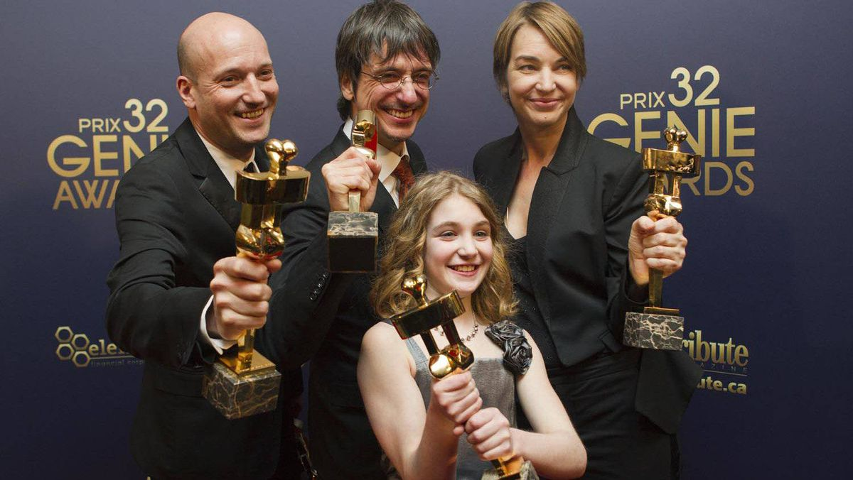 Producers Luc Dery, left, and Kim McCraw, right, director Philippe Falardeau and actress Sophie Nelisse of Monsieur Lazhar.