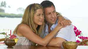 "Jennifer Aniston and Adam Sandler hug it out in a scene from ""Just Go With It"""