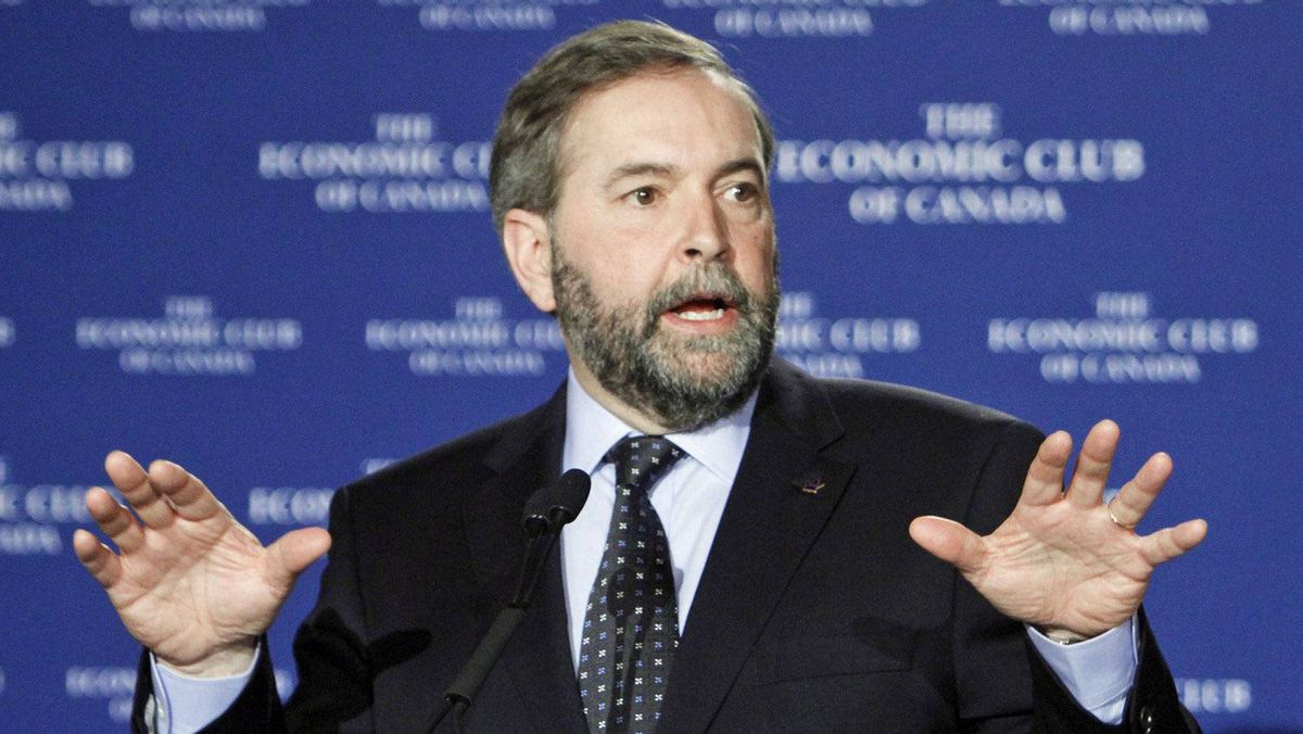 NDP Leader Thomas Mulcair addresses the Economic Club of Canada in Ottawa on April 5, 2012.