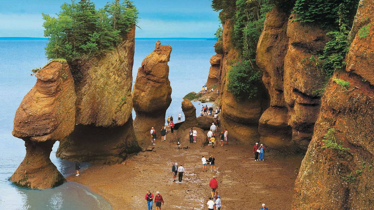 The Bay of Fundy has the hightest tides in the world, ranging from 3.5 metres at their lowest, to 16 metres and more.