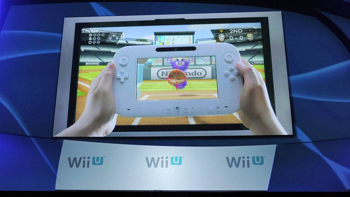 The new Nintendo Wii U gaming console is displayed on a video screen during a news conference at the E3 Gaming Convention in Los Angeles, Tuesday, June 7, 2011.