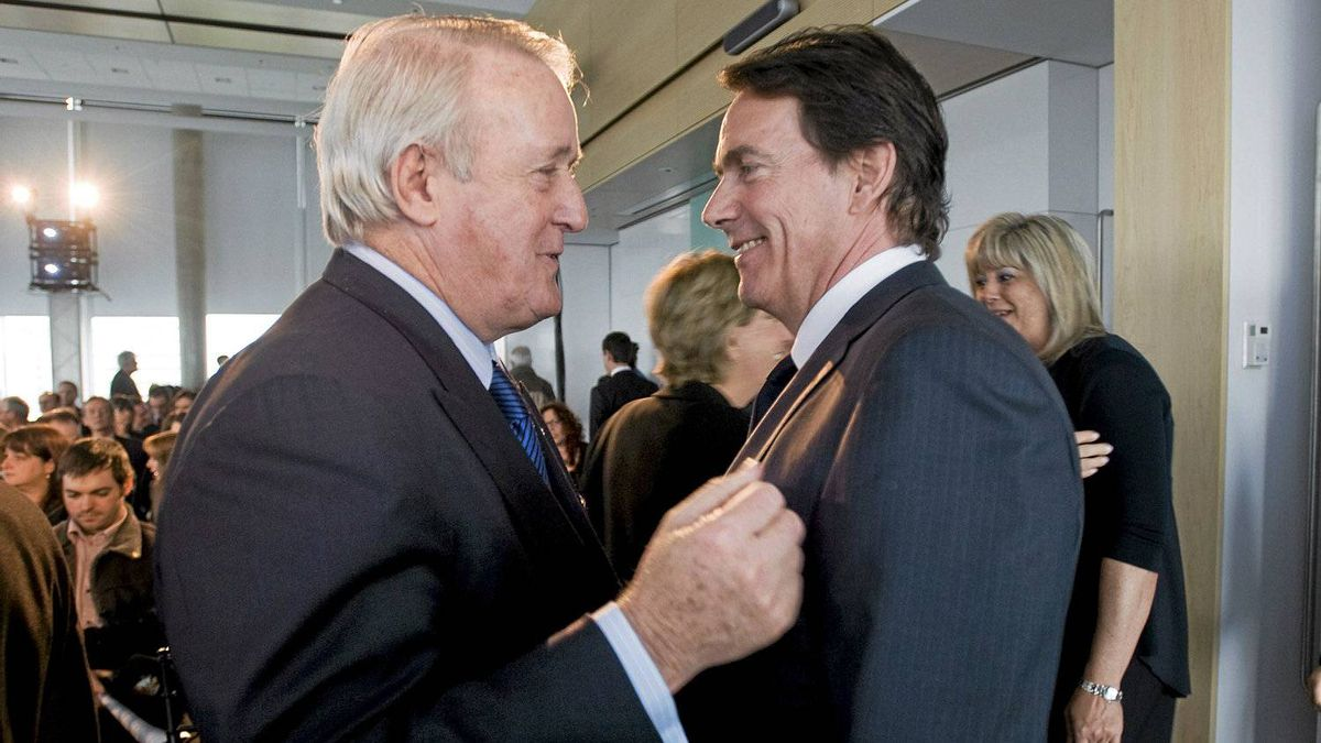 Quebecor Inc. president and CEO Pierre Karl Peladeau, right, greets former prime minister Brian Mulroney at the company's annual general meeting in Montreal Wednesday, May 9, 2012.
