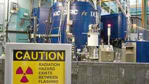 A warning sign near a nuclear reactor at the Atomic Energy Canada Ltd. plant in Chalk River, Ont., on Dec. 19 2007.