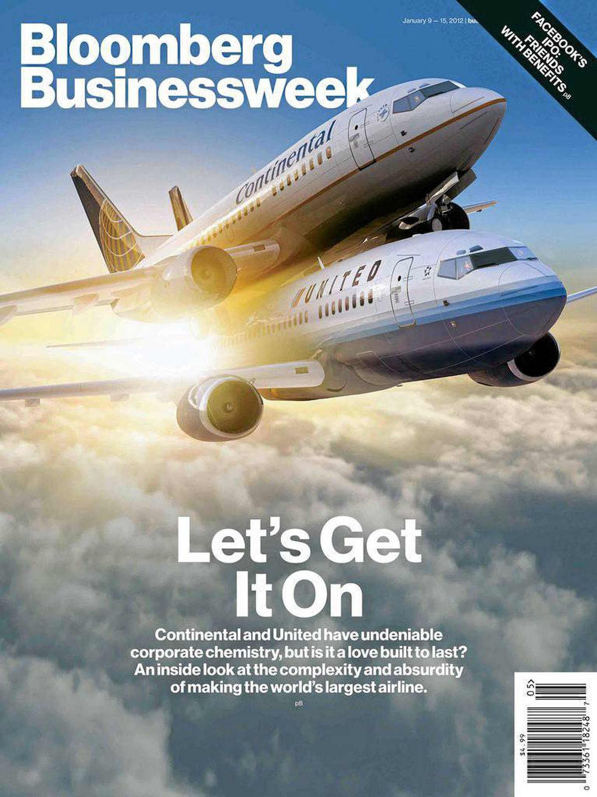 """Another Bloomberg Businessweek cover makes a not-too-subtle reference to the classic countercultural """"Fly United"""" T-shirt."""