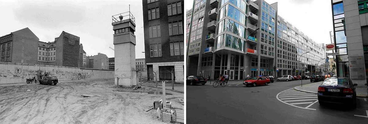 Combo photo of corner of Zimmerstrasse and Charlottenstrasse near the former Allied checkpoint Charlie in Berlin