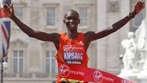 Kenya's Wilson Kipsang celebrates his win as he crosses the finish line during the London Marathon, London, Sunday, April 22, 2012. Kenya's marathon superiority was flaunted Sunday ahead of the Olympics, with Wilson Kipsang and Mary Keitany coasting to victory in London to virtually assure themselves of selection for the games. (AP Photo/Sang Tan)