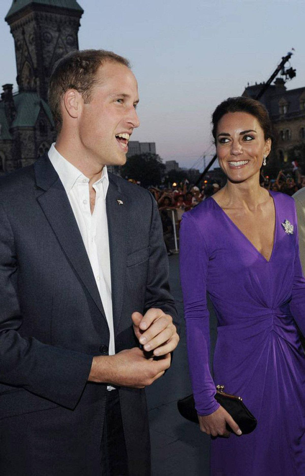 Prince William, Duke of Cambridge and Catherine, Duchess of Cambridge arrive for the Evening National Canada Day Celebrations in the capital accompanied by representatives of the National Capitol Commission on July 1, 2011 in Ottawa.