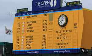 Leaderboard at the Old Course invites everyone to next year's Open at Sandwich